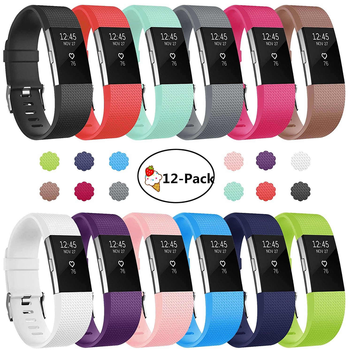 Soulen 12-Pack Soft Silicone Accessory Replacement Bands For Fitbit Charge 2 - $11.89 @ Amazon
