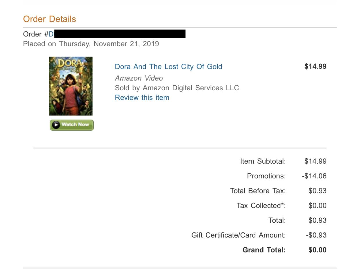 Dora And The Lost City Of Gold - Amazon price mistake