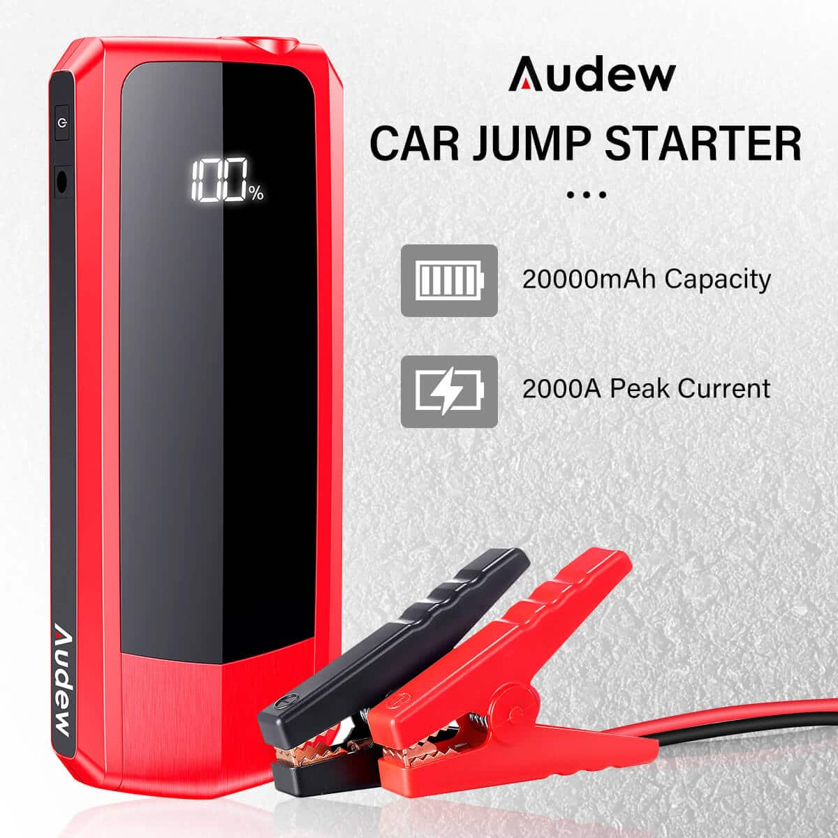 Audew 2000A Peak 20000mAh Car Jump Starter for All Gas Engines or Up To 8.5L Diesel Engines with LCD Power Display $67.65
