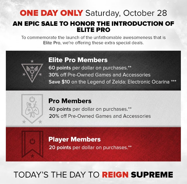 GameStop Pro Elite Celebration 10/28 Saturday $29.99