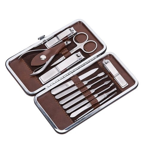 12 in 1 Manicure & Pedicure Set,Stainless Steel Grooming Nail Clipper Kit with Portable Travel Case $10.49