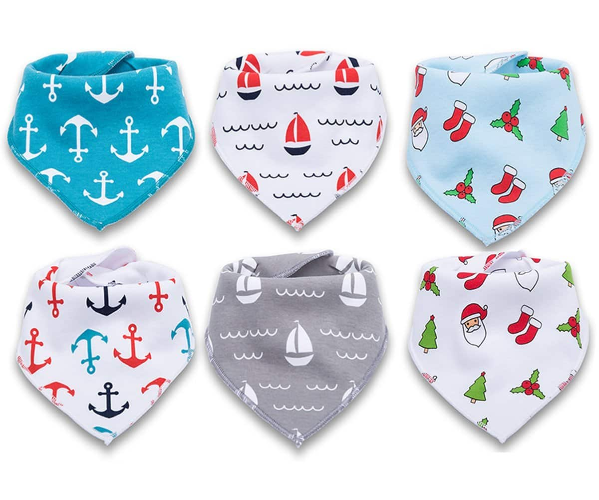 6-Pack Baby Bandana Drool Bibs for Teething and Drooling, 100% Organic Cotton Soft and Absorbent, Baby Shower Gift Set for Boys and Girls $9.49