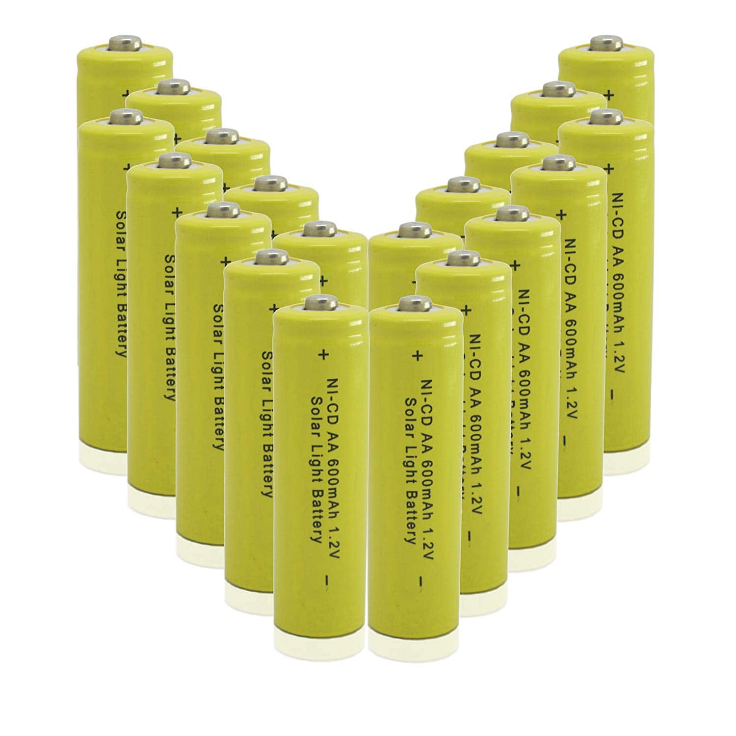 GEILIENERGY NICD AA Batteries for Solar Light (Pack of 20), Yellow Color as low as $11.83 with 10% Amazon S&S & 10% off clipped coupon