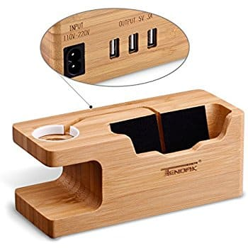 Bamboo Charging Stand With 3 USB Ports 3.0 for Apple Watch & Smartphone for $14.99