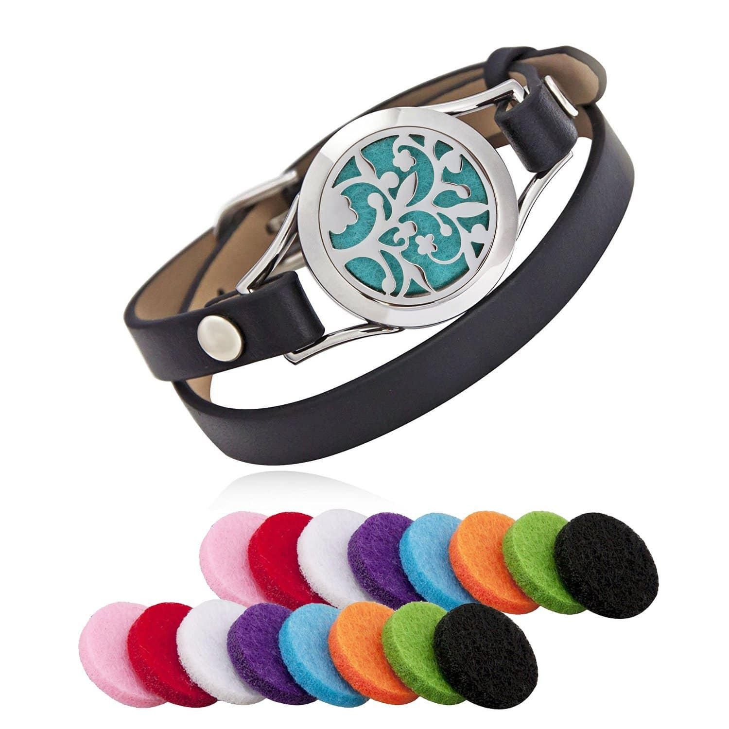 Aroma Essential Oil Diffuser Bracelet with 16 Color Pads for $12.99