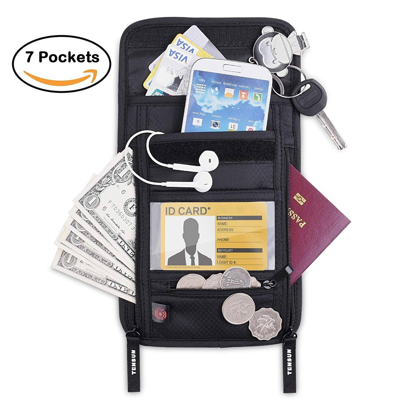 Neck Pouch Wallet, Passport Holder Stash w/RFID Blocking Security Travel Document Pouch $6.99