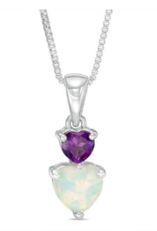 Zales: Heart-Shaped Lab-Created Opal and Amethyst Double Drop Pendant: $21.99 + Free Ship To Store