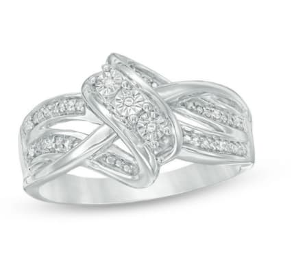 Zales: Diamond Accent Three Stone Layered Crossover Ring in Sterling Silver - Size 7 Only: $19.99 + Free Ship To Store