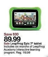 """Target Weekly Ad: Leapfrog Epic 7"""" Tablet for $89.99"""