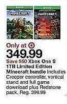Target Weekly Ad: Xbox One S 1TB Limited Edition Minecraft Bundle for $349.99