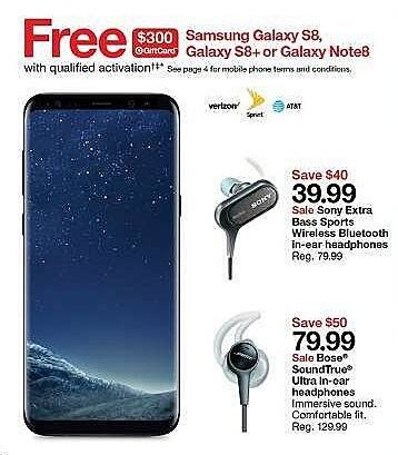 Target Weekly Ad: Free $300 Target Gift Card w/ Purchase of Samsung Galaxy S8, S8+ or Note8 for $749.99