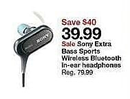Target Weekly Ad: Sony Extra Bass Sports Wireless Bluetooth Headphones for $39.99