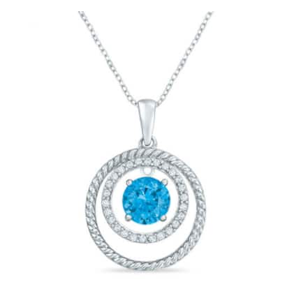 Zales: Swiss Blue Topaz and White Sapphire Pendant in Sterling Silver: $19.99 + Free Store Pickup