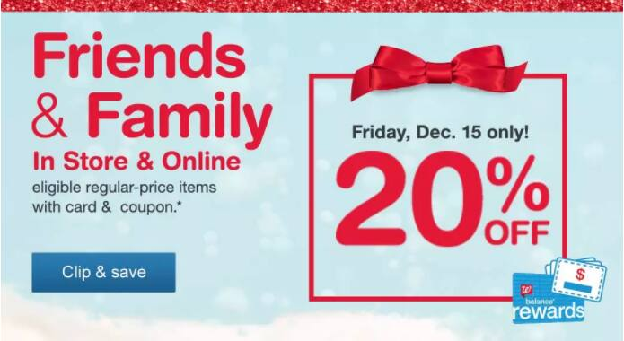 Walgreens Friends & Family Sale: Today Only: 20% Off Regular Priced Items Sitewide + Free Ship to Store