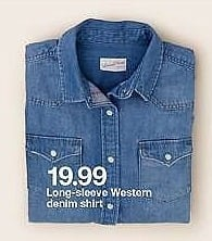 Target Weekly Ad: Long-Sleeve Western Denim Shirt for $19.99