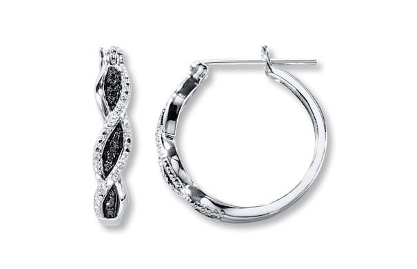 Kay Jewelers Black Diamond Hoop Earrings Sterling Silver