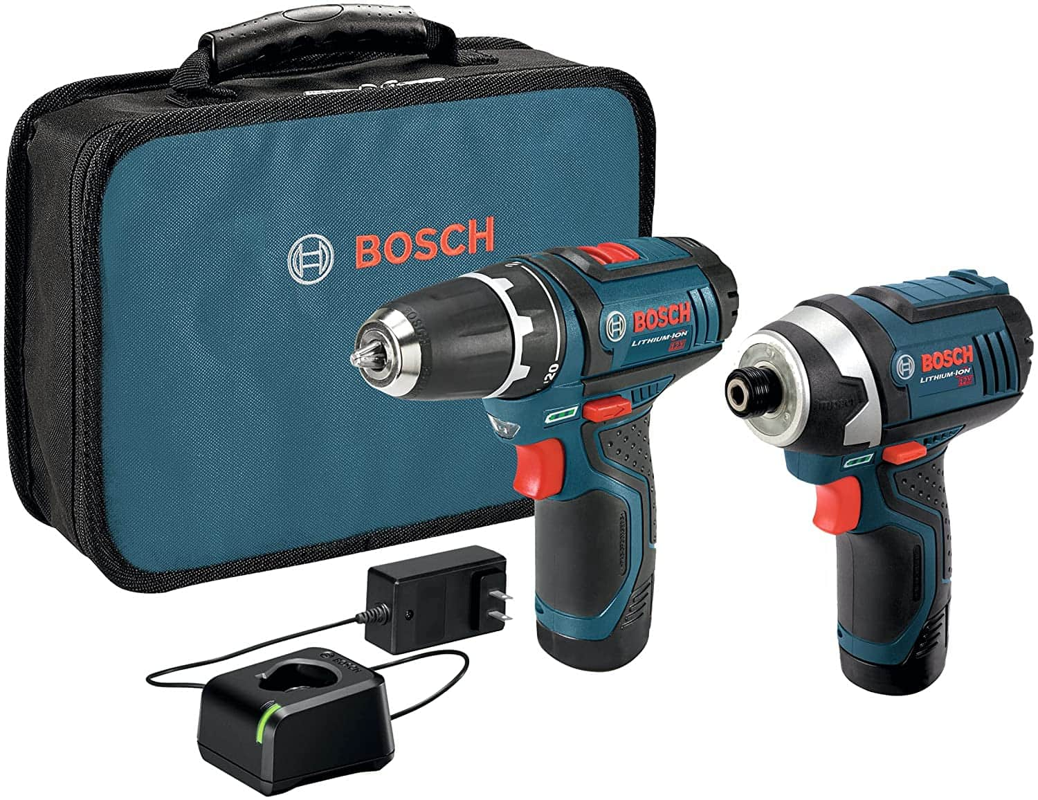 BOSCH Power Tools Combo Kit CLPK22-120 - 12-Volt Cordless Tool Set (Drill/Driver and Impact Driver) with 2 Batteries, Charger and Case $99.92