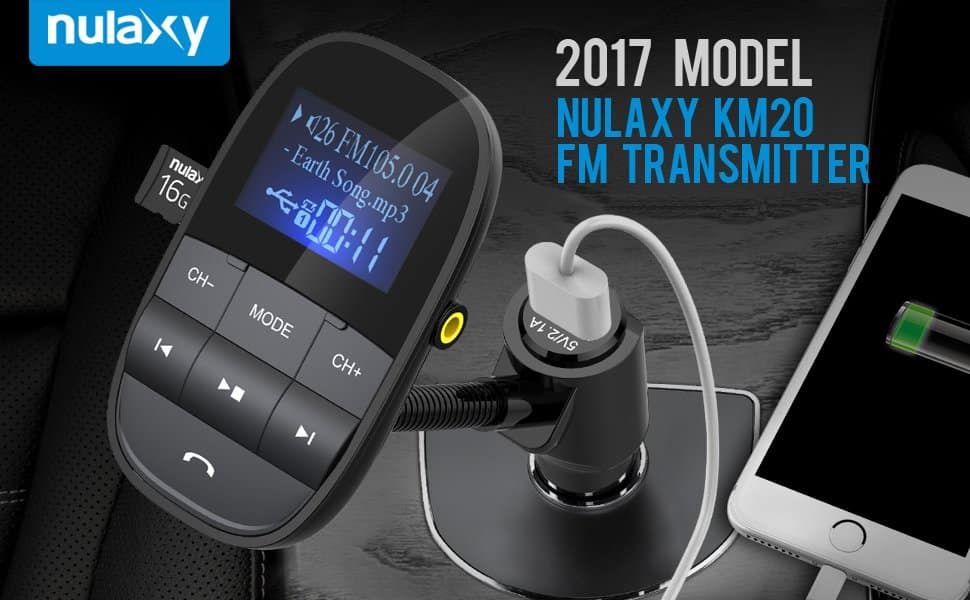 $16.19 Nulaxy KM20 hands-free bluetooth to FM/AUX adapter with LCD screen