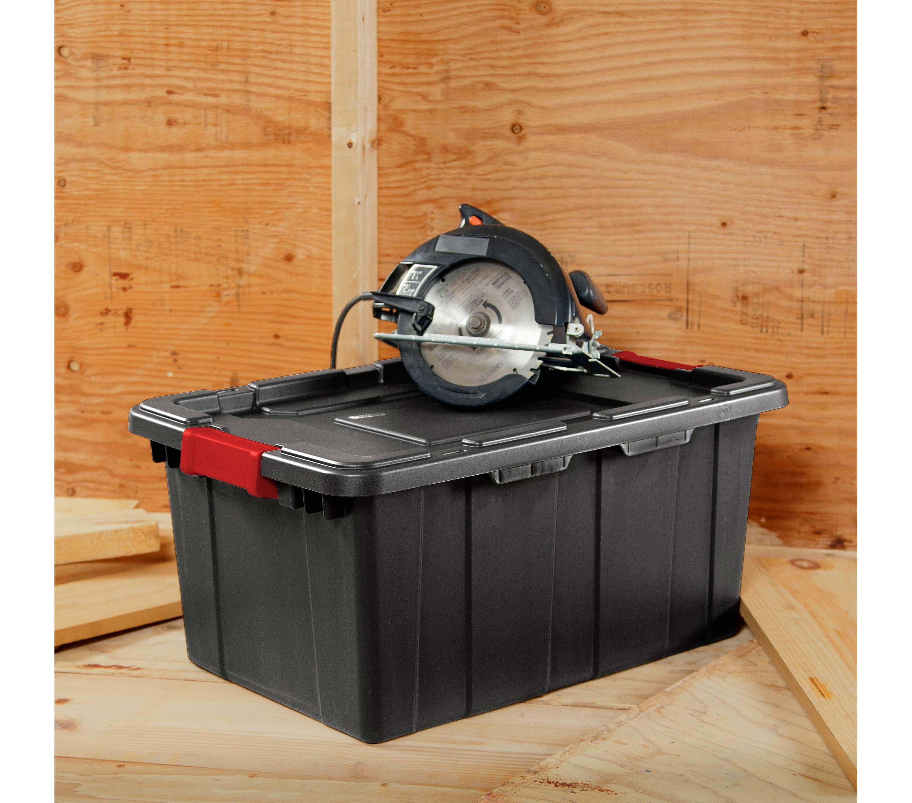 Sterilite® 60 Qt Industrial Utility Storage Tote - Black with Red Latch, Target YMMV B&M availability varies, but good availability nationwide @$4.98