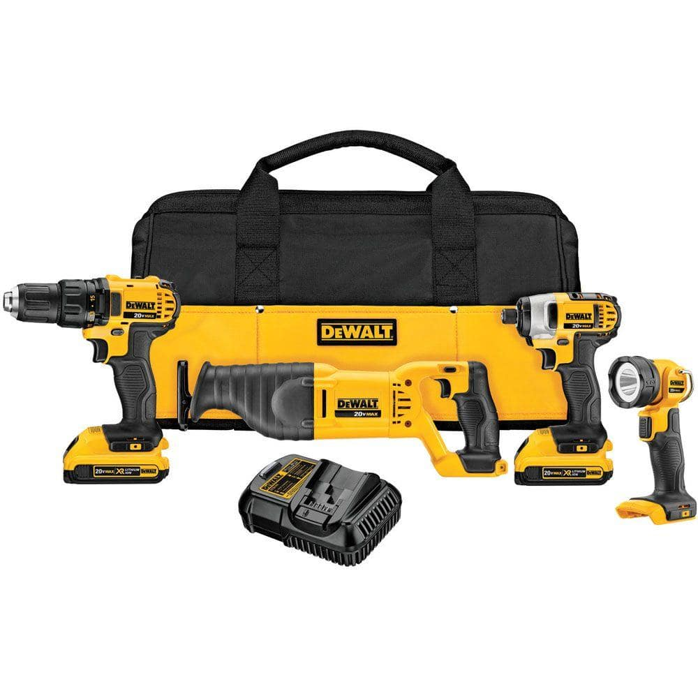 Dewalt DCK420D2 20V MAX Lithium-Ion Cordless Combo Kit (4-Tool) with (2) Batteries 2.0Ah, Charger and Tool Bag$159