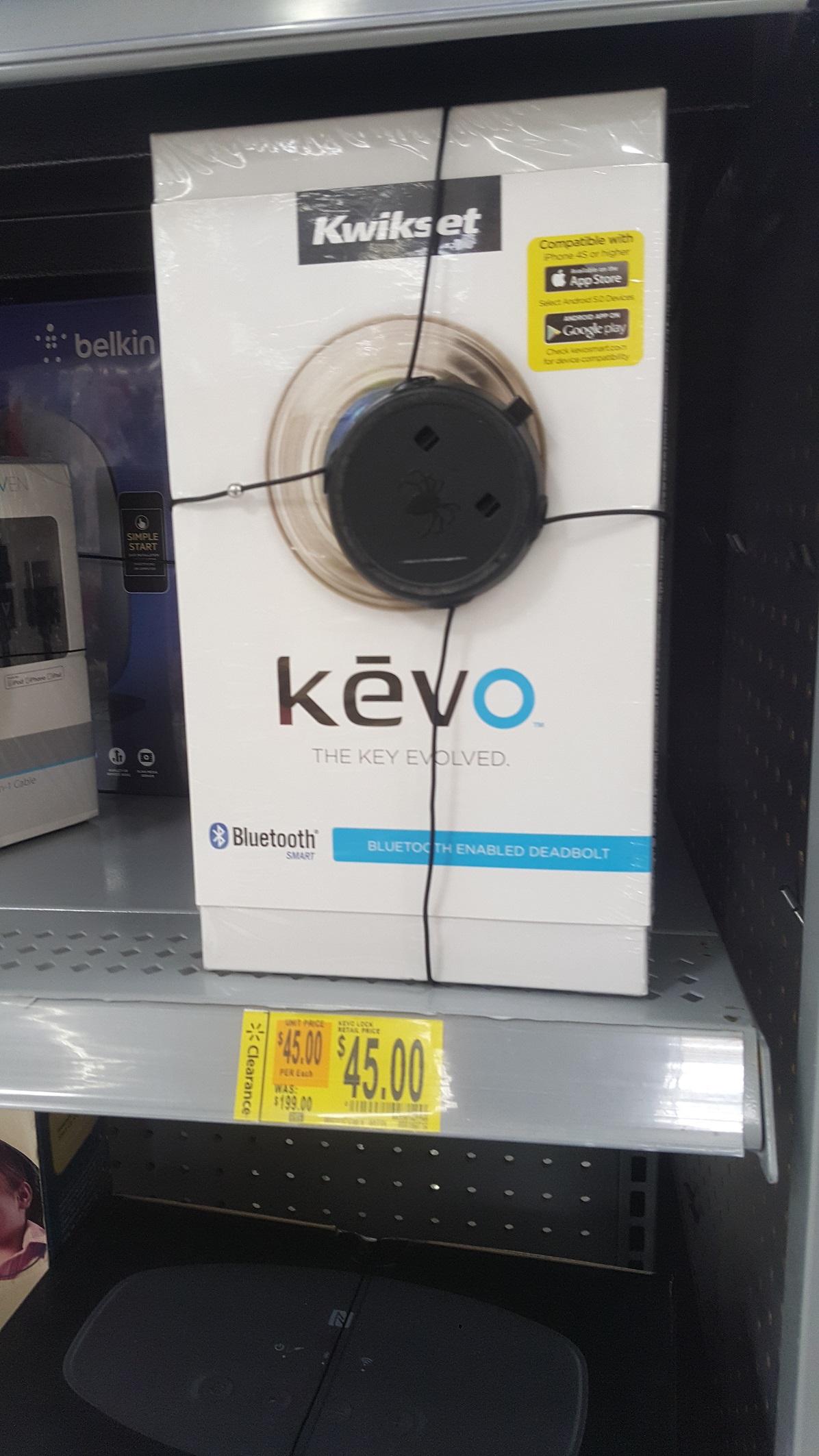 Kwikset 925 Kevo Bluetooth Deadbolt. In store. Walmart YMMV $45. 1st Gen