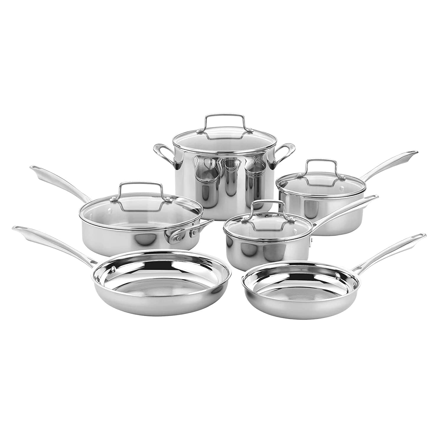 Cuisinart Tps 10 10 Piece Tri Ply Stainless Steel Cookware Set Pc Silver Prime Exclusive 124 99