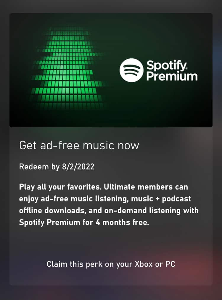 Xbox Game Pass Ultimate Members: 4-Months of Spotify Premium Ad-Free Trial Membership Free w/ Game Pass Perks