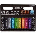 8-Pack Sanyo Eneloop Glitter AA NiMH 2000 mAh Pre-Charged Low Self-discharge Rechargable Batteries