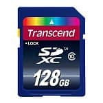 Transcend Memory and Storage: 32GB JetFlash 500 USB 2.0 $14, 64GB JetFlash 700 USB 3.0 $33, 16GB Class 10 SDHC Memory Card $9, 128GB Class 10 SDXC Memory Card