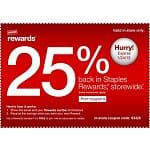 Staples Coupon: 25% Back In Rewards for In-Store Purchases via Printable Coupon