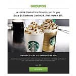 *Check Your Email* Starbucks eGift Card: $10 eGift Card for $5 from Groupon *YMMV Nationwide 6/12?*