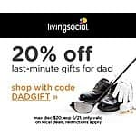 LivingSocial Coupon: Additional 20% Off Any Local Deals (Valid thru 6/21)