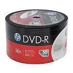 50-Pack HP 4.7GB 16x DVD-R Disc Pack $5.99 + Free Shipping *Back*