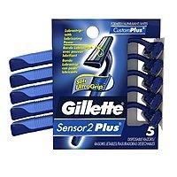 Amazon Deal: Gillette Disposable Razor for Men: 5-Count Sensor2 Plus Razor