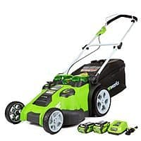 "Greenworks Twin Force 20"" 40V Li-Ion Cordless Lawn Mower w/ 2 Batteries & Charger"