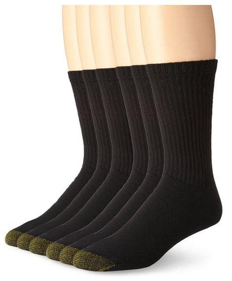 6-Pairs of Men's Gold Toe Athletic Socks (Black or White): Crew or Quarter  $10.40
