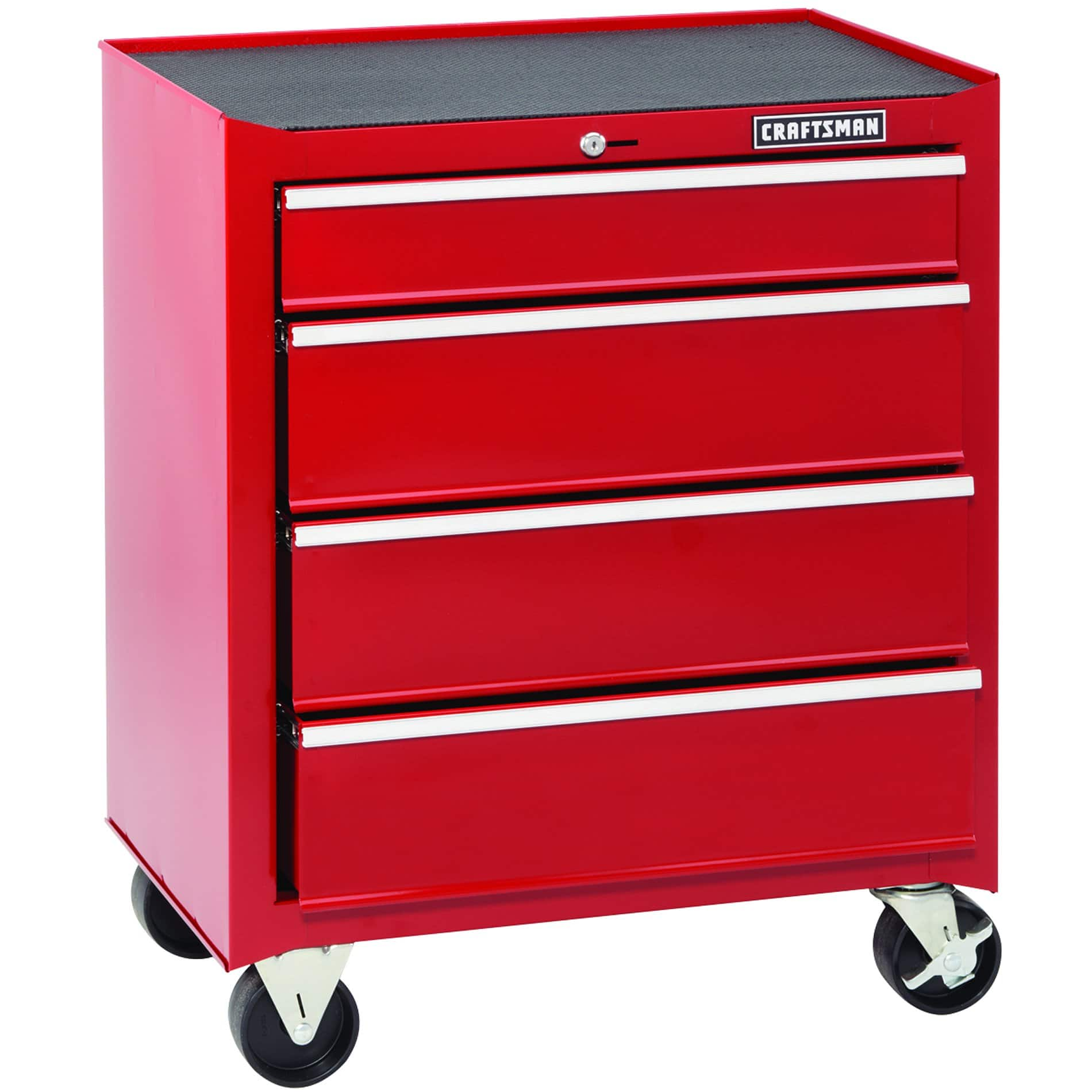 "Craftsman 26"" 4-Drawer Standard-Duty Ball Bearing Rolling Cabinet (Red) $40.99 + Free Store Pickup"