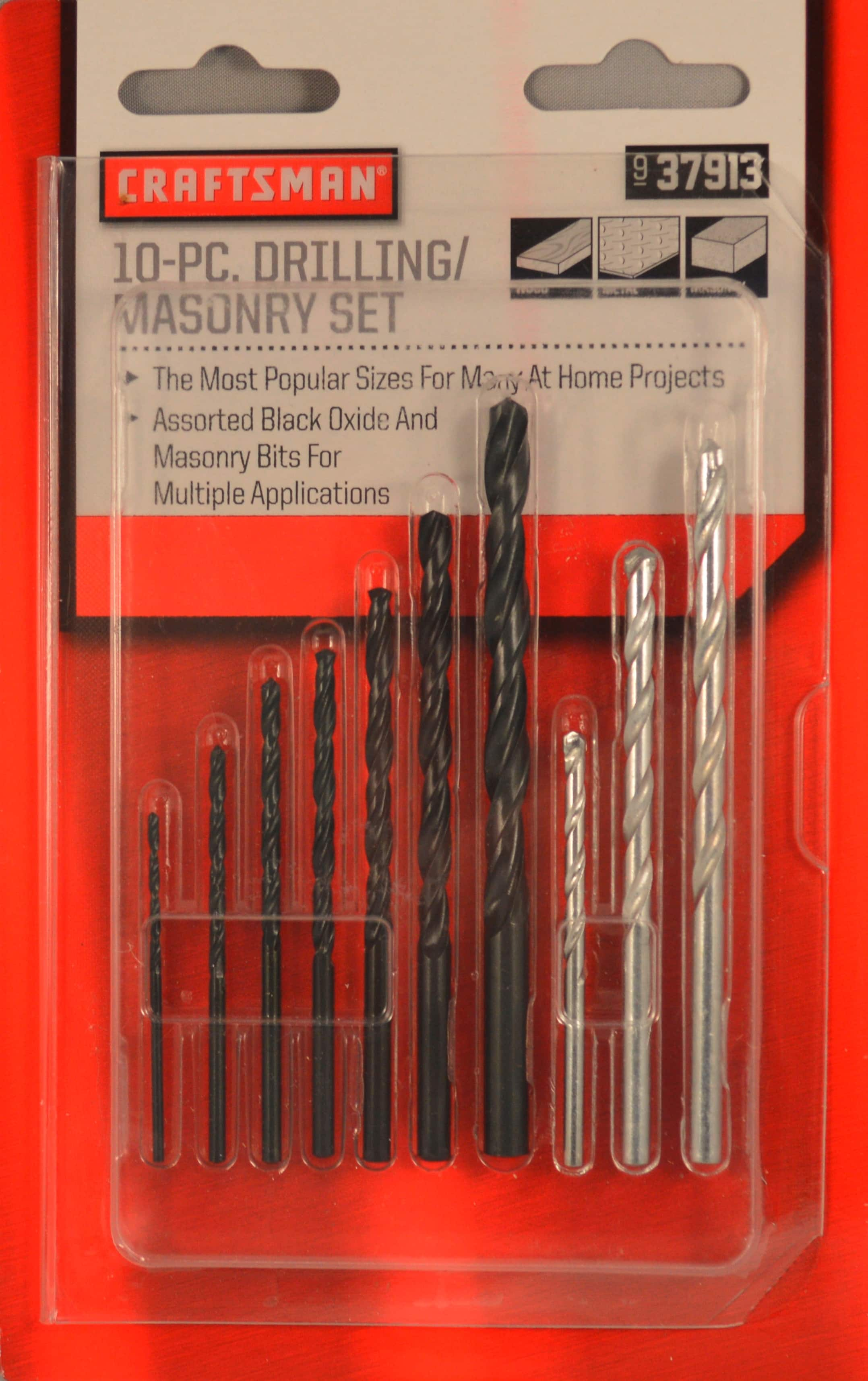Kmart - Craftsman 10 Piece Drilling Masonry Bit Set + $4 SYW Points = $4.99 (Free in store pick up) + More Tools Included in $4 SYWR Promo!