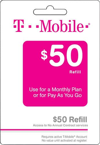 $100 T-Mobile Refill Card, Verizon Prepaid Card, AT&T GoPhone Top-Up Prepaid Card, and H2O Wireless Top-Up Card For $85