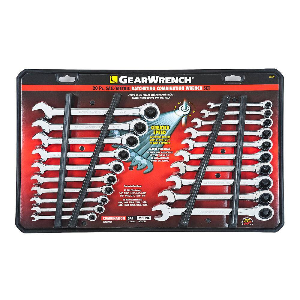 GearWrench 20PC Combination Ratcheting Wrench Set SAE / MM $49.99 (  Regular price $99.99 - Lifetime Warranty - 5 Star Reviews ) Free Shipping Or Free  Store Pick Up @ SEARS