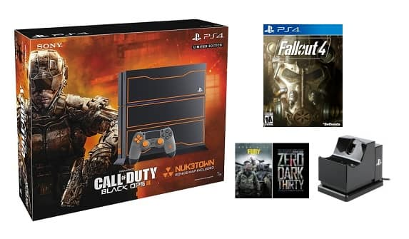 $429 PS4  PlayStation 4 1TB Call of Duty: Black Ops III Limited Edition Bundle+fallout 4+charger+2 digital movies