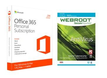 $15 - 1 Year Microsoft Office 365 (Mac / PC) and WebRoot AV