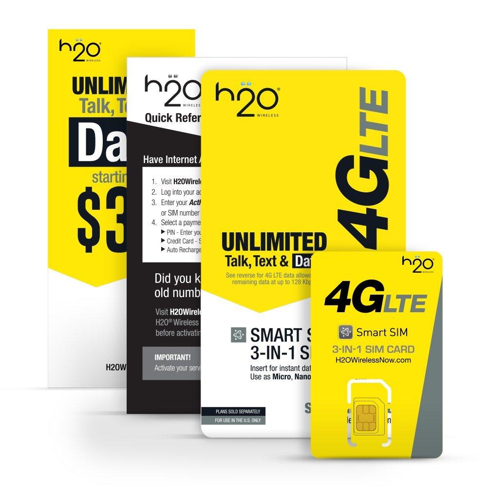 H2O Wireless Smart SIM Card w/ $10 Pay As You Go Plan Airtime  $0.01