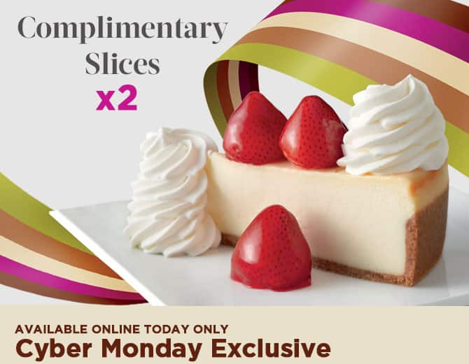 The Cheesecake Factory: $25 eGift Card Purchase + Two Free Slices of Cheesecake  $25