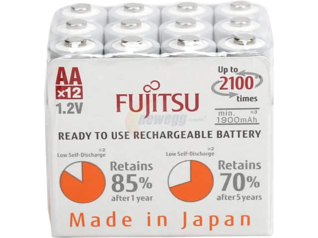 Fujitsu 12-Pack AA 2,000 mAh 2100 Cycle Ni-MH Pre-Charged Rechargeable Batteries for $14.99 AR + Free Shipping @ Newegg.com (Starting at 4 AM PT)