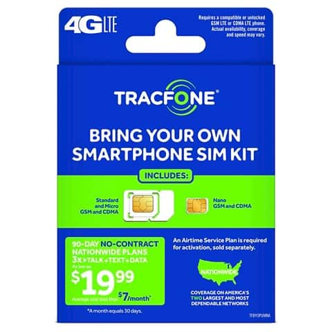 TracFone Bring Your Own Smartphone SIM Kit  $1 + Free In-Store Pickup