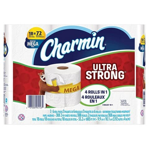Charmin Ultra Strong or Ultra soft 18 Mega Roll x3 -- $35.97 Free shipping @ Target.com