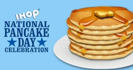Free Short Stack of Pancakes at IHOP on Tues March 8, 2016 for National Pancake Day