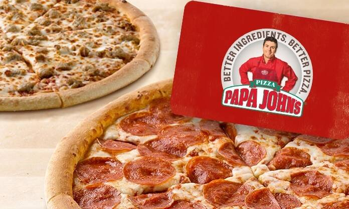Papa John -  2 free large one topping pizza with a purchase of $25 egift card ($55 value)  -  $25