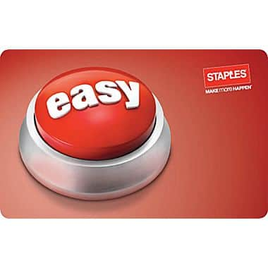 Staples Easy Button Gift Card $100 for $85 at Staples.com